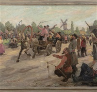 folk festival with horse-drawn cart and riders by vladimir lazarev