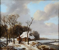 winter day with two firewood collectors by hendrik van de sande bakhuyzen
