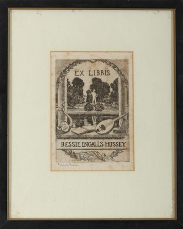 bessie ingalls hussey bookplate by frank weston benson