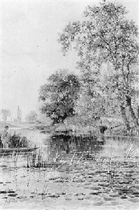 angler in a punt on a river by arthur willett