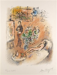 l'atelier ensoleillé (das in sonne getauchte atelier) by marc chagall