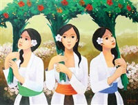 three women and flowers by gunawan bagea