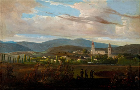 landscape with steam engine by tokaj tarcal by károly jacobey
