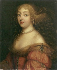 portrait of a lady (laura mancini, duchesse de mérceur?) in a red dress with a pearl necklace and earrings by louis ferdinand elle the elder