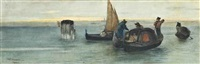 gondoliers at a mooring at dusk, venice beyond by vincenzo cabianca