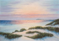 beach scene with sunset by wolmer zier