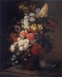 großes blumenstück mit schmetterlingen und ananas by marie théophile voitellier