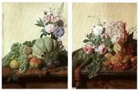 fruits et fleurs sur un entablement de bois, fruit,et fleurs sur un entablement de marbe by philibert metrat