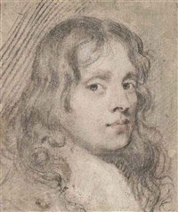 portrait of a young man, with long flowing hair (study) by john greenhill