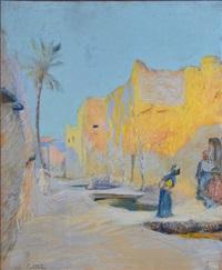 rue animée en afrique du nord by charles cottet