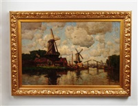 canal scene with windmills by hermanus koekkoek the younger