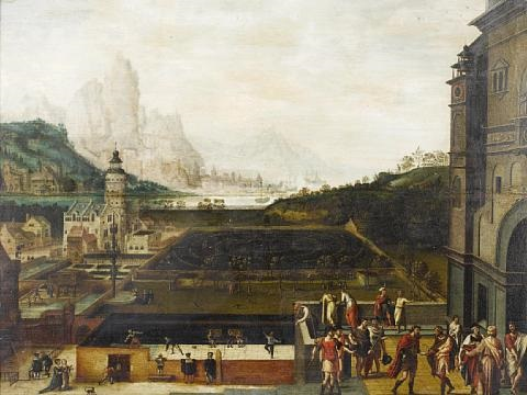 the grounds of a renaissance palace with episodes from the story of david and bathsheba an extensive landscape with mountains and a harbor beyond by lucas gassel