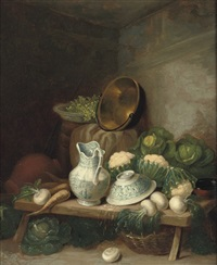 a kitchen still-life including a earthenware jug and bowl by samuel smith