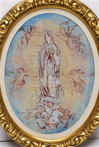 virgen con ángeles by carmen parra