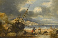 fisherfolk along the shore by hendrik barend koekkoek