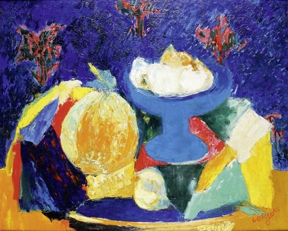 melon et compotier bleu by bernard lorjou