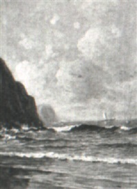 sailing off a rocky shore by edward burrill