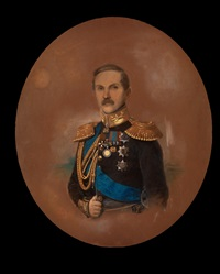 portrait of count peter andreyevich kleinmikhel, minister of public works in russia, in a dark uniform with golden epaulettes decorated with several military orders inlcuding nikolas i by friedrich randel