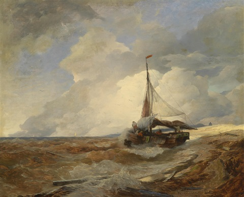 fischerboot in seenot by andreas achenbach