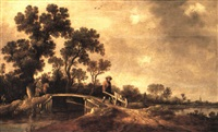 a river landscape with figures on a bridge by dirk-raphaelsz camphuysen