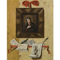 a trompe l'oeil wall arrangement with madonna and letters by andrea domenico remps