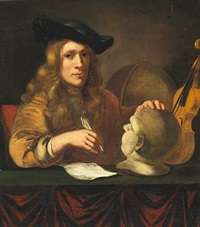 allegory of fine arts? a learned man in his study surrounded by globe, violin and a bust on a table. presumably a selfportrait by thomas wijck