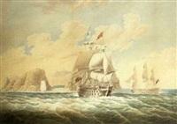 a royal navy three decker leaving jamestown, st. helena (+ another; 2 works) by john harris (captain) nicolas