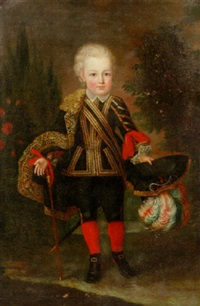 portrait of a young boy wearing a gold embroidered black costume with lace chemise and cape by anna maria mengs