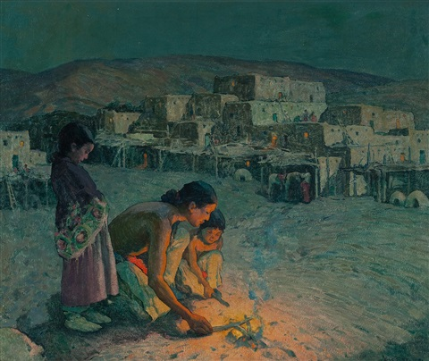 moonlight pueblo de taos by eanger irving couse
