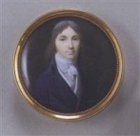 portrait d'homme en buste vers la droite vêtu d'une redingote bleu de prusse, gilet et cravate blancs by nicolas-françois dun