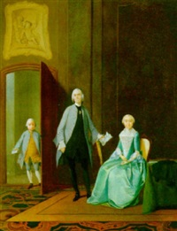 a portrait of a family in an elegant interior by tiebout regters