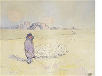 shepherd boy attending his flock by robert polhill bevan