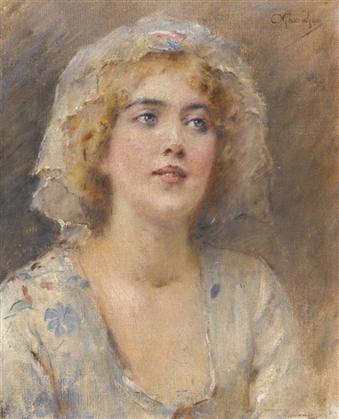 portrait of a girl by konstantin egorovich makovsky