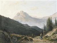 alpenpartie mit schafherde und hirten by vincent blatter