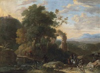 a wooded, river landscape with ruins, a hunting party in the right foreground by herman van swanevelt