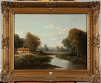 paysage animé à la rivière by alfred godchaux