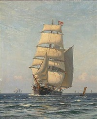 seascape with sailing ships by vilhelm karl ferdinand arnesen