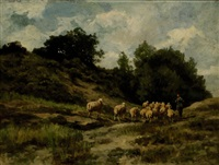 shepherd with his herd in a dune landscape by willem steelink