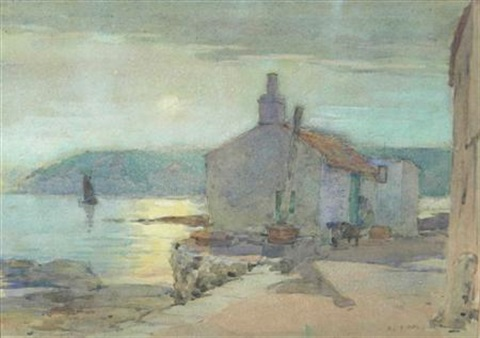 sunset at pittenweem bay fife by robert eadie