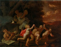 putti and a maenad dancing to a piping satyr by walther damery