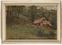 paesaggio campestre con pecore e figure by achille tominetti