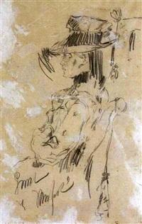 retrato de dama con sombrero by fidelio ponce de león
