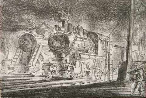 switch engines, erie yards, jersey city by reginald marsh