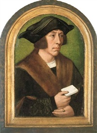 portrait of a man (the emperor ferdinand i ?), half-length, in a fur-lined coat, a letter in his right hand by master of frankfurt