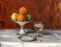 still life with fruit and wine by cowan dobson