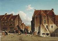 kuilenburg: a market place with figures, culemborg by jan weissenbruch