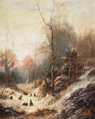 rabbits in a snow covered forest by james herbert snell