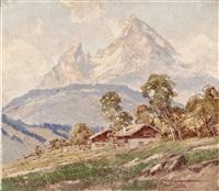 bauernhäuser am watzmann bei berchtesgaden by ernst carl walter retzlaff