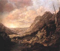an extensive river valley landscape with horses drinking at the water's edge and other figures on a steep rocky path by david de hooch