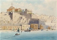 the auberge de castille et leon and the upper baracca from the isola point, grand harbour, malta by nicholas krasnoff